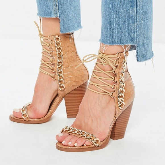 a296ab6e04 Missguided Shoes | Lace Up Croc Heels Never Worn | Poshmark